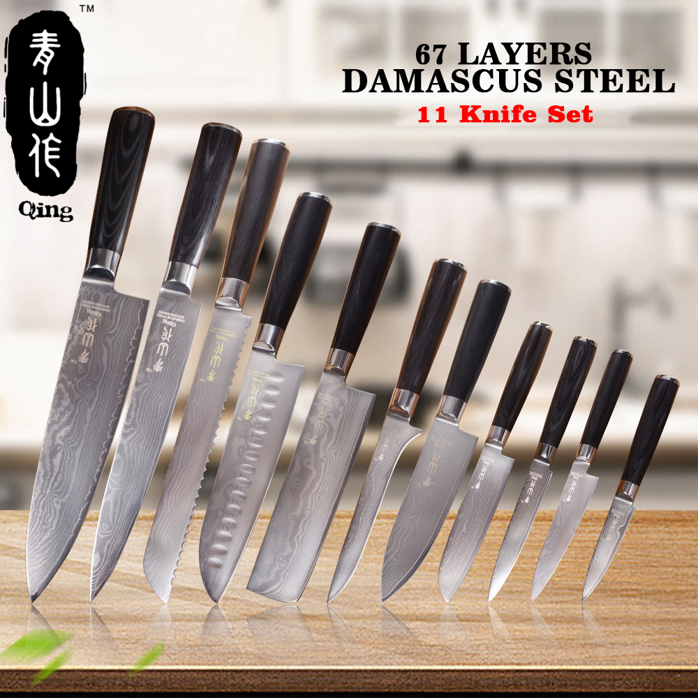 QING 11pcs VG10 Damascus Knives Top Grade Japanese Damascus Steel Cooking Tools High Toughness Kitchen Knives Color Wood Handle