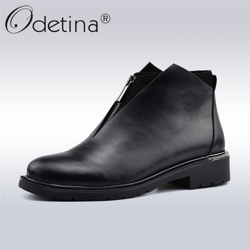 Odetina Autumn New Fashion Designer Safety Ankle Boots Shoes For Women Chunky Heel Front Zippe Round Toe Patchwork Femal Booties