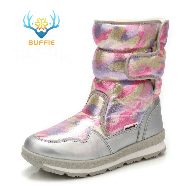 89a9151f9c61 Pink camouflage winter boots snow shoes younger wearing hot fur nice look  waterproof fabric plus big size silver banding 2018 ne