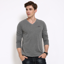 Man Brand Cotton Spandex Long Sleeve T Shirts Male V neck Fitness Bodybuilding Undershirts 2XL 3XL