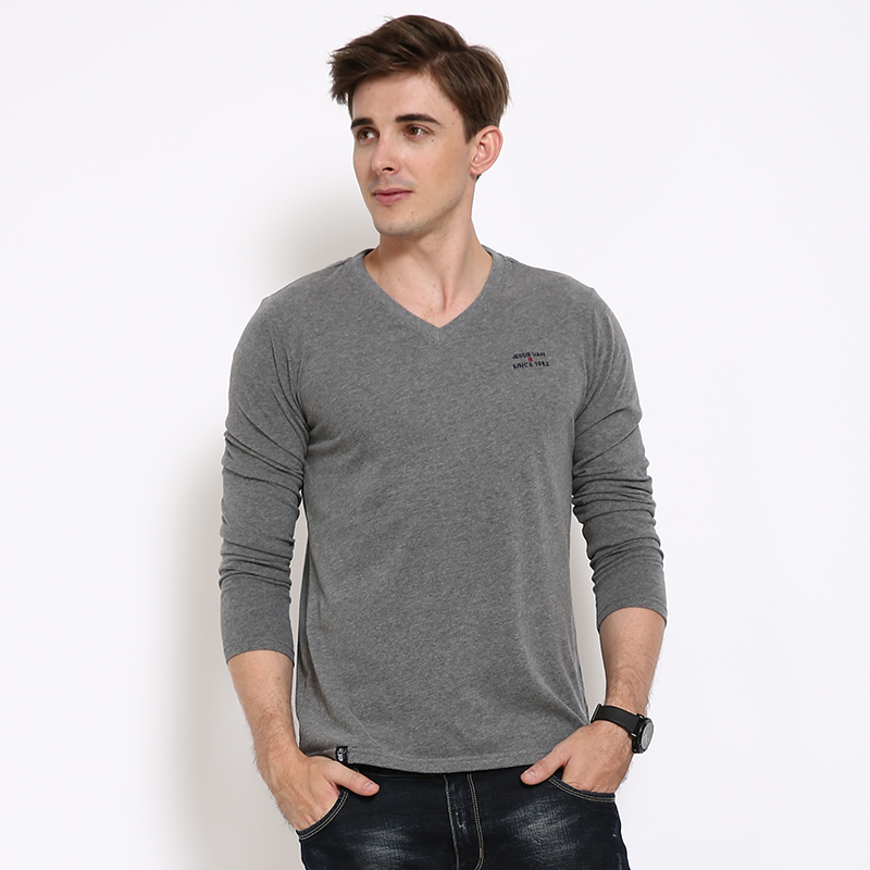 Man Brand Cotton Spandex Long Sleeve T Shirts Male V neck font b Fitness b font