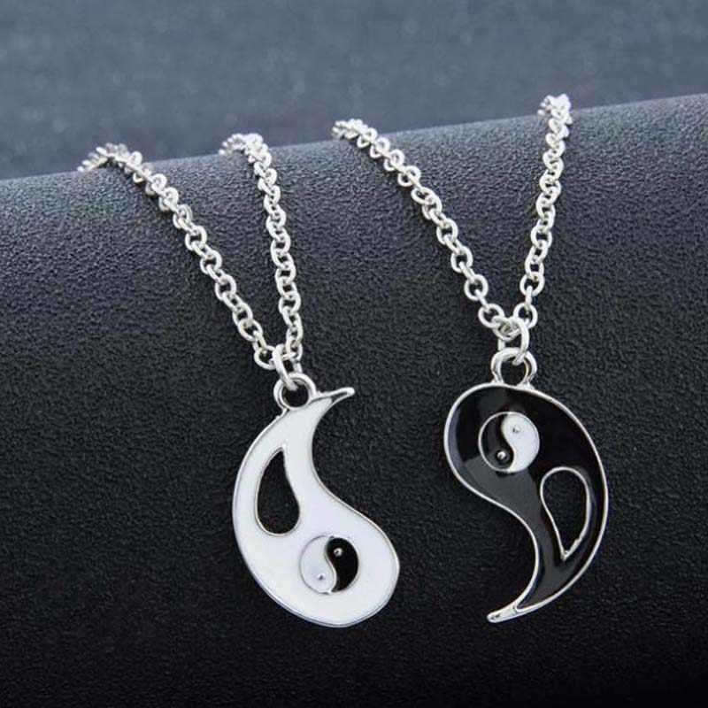 2 pièces meilleurs amis collier bijoux Yin Yang Tai Chi pendentif Couples paire colliers et pendentifs unisexe amoureux cadeau de saint valentin