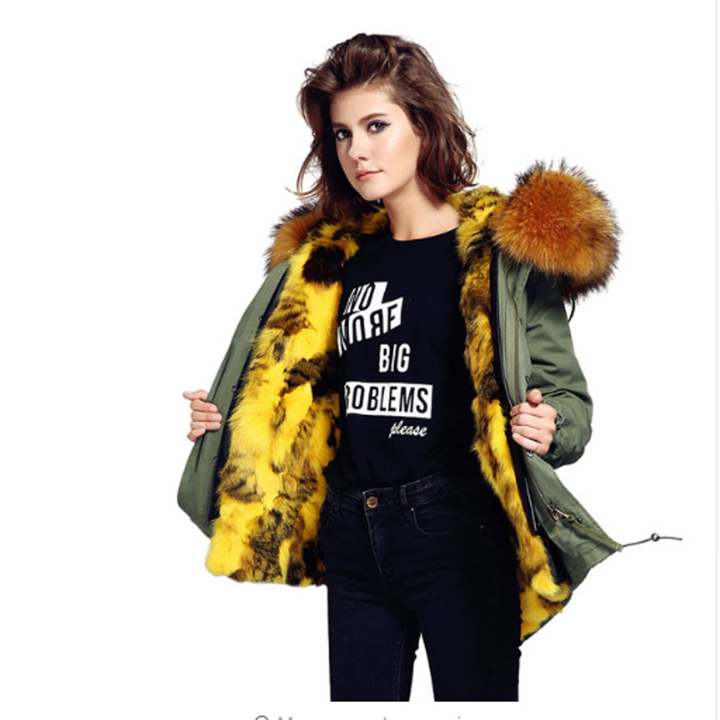 Camisa New Fashion Women's Luxurious Army green Big Real Raccoon Fur Collar Hooded Coat Rabbit Fur Liner Winter Jacket Parkas faux rabbit fur brown mr short jacket sleeveless with big raccoon collar fall coat