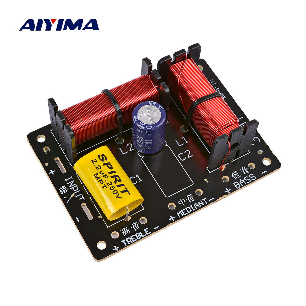AIYIMA Professional Speakers Frequency Divider 120W Treble Midrange Bass 3 Way Crossover Audio Speaker Filter DIY Home TheaterAIYIMA Professional Speakers Frequency Divider 120W Treble Midrange Bass 3 Way Crossover Audio Speaker Filter DIY Home Theater