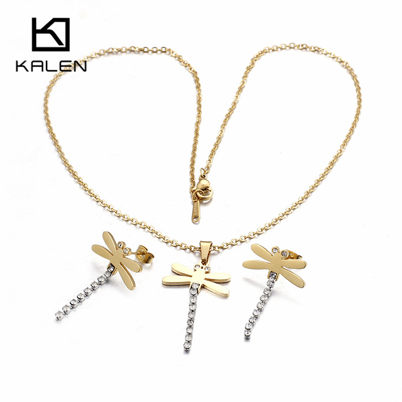 Kalen Rhinestone Dragonfly Jewelry Sets Stainless Steel Dragonfly Pendant Necklace & Earrings Set For Women Children's Day Gifts