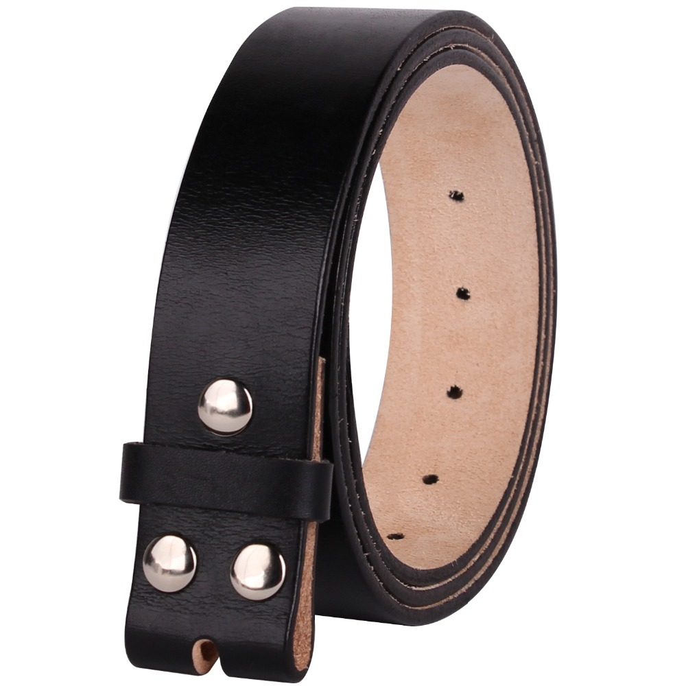 Men,s Genuine 100/% Real Leather Belt Snap On Strap Without Buckle Top Quality