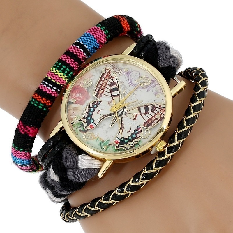 New Atrapasueno Mexican Fabric Lace Bracelet Eiffel Tower  Elephant Butterfly Watch Ladies Large Strap Native Ethnic Style Clock