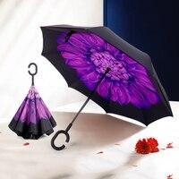Reverse Ombrello Pioggia Donne Fiore Doppio Anti-Uv Mano Libera El Rey Leone Damen Nero Cappotto Uomini Ombrello Antivento Grande DDD5X