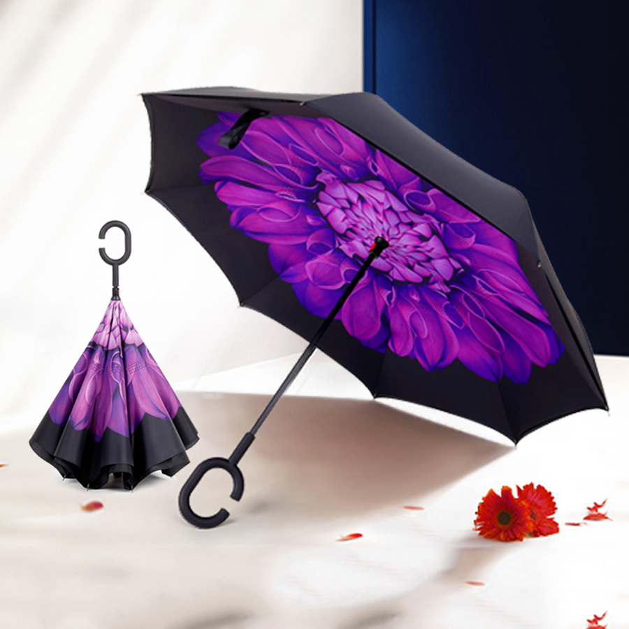 Reverse Umbrella Rain Women Double Flower Anti-UV Hand Free El Rey Leone Damen Black Coa ...