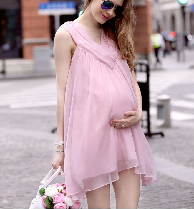 5800ce390be 2016 New Summer Sweet Pregnant Women Pink Dresses European Style Chiffon Maternity  Clothes for Beauty maternity Mama