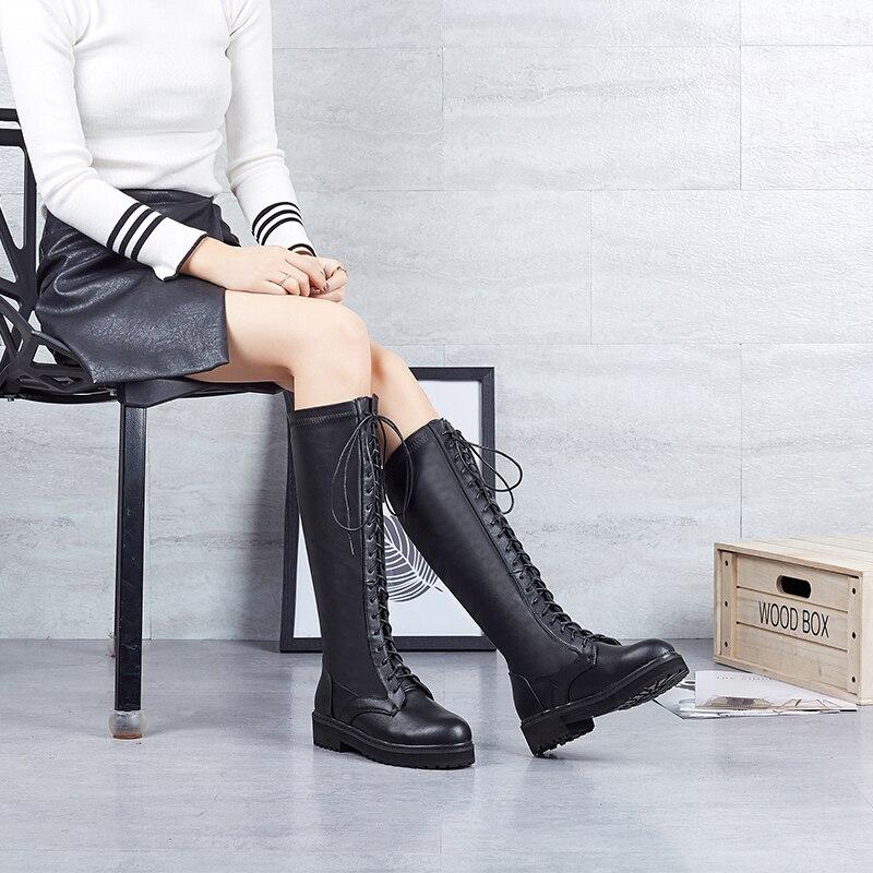 Femmes Courte Aa12205 black À Bottes Haute Plat Hiver Rond Genou Carré Chaud Peluche Talon Bout Tissu Noir With Mince Lacets Fur Y7b6gfy