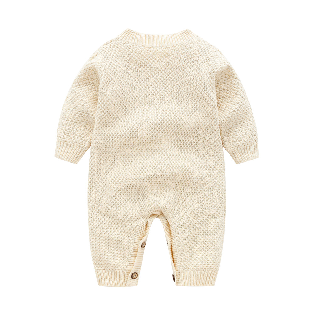 Image 2 - Baby Rompers Long Sleeve Newborn Boys Jumpsuits Outfits Autumn White Cable Knit Infant Girls Overalls Winter Warm Children Wear-in Rompers from Mother & Kids