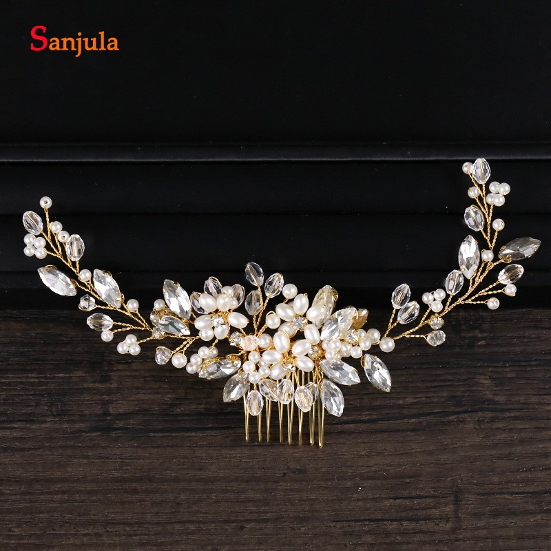 Gold HeadPiece With Comb New Pearls Crystal Bridal Head Accessory Hand Made Wedding Decorations T036