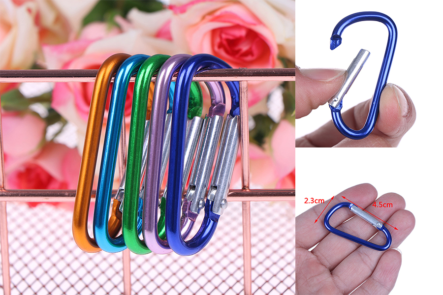 5pcs Fashion Random Color Aluminum Key Ring Bottle Hook D Shape Carabiner Spring Snap Clip Hooks Mountaineering Buckle Keychain