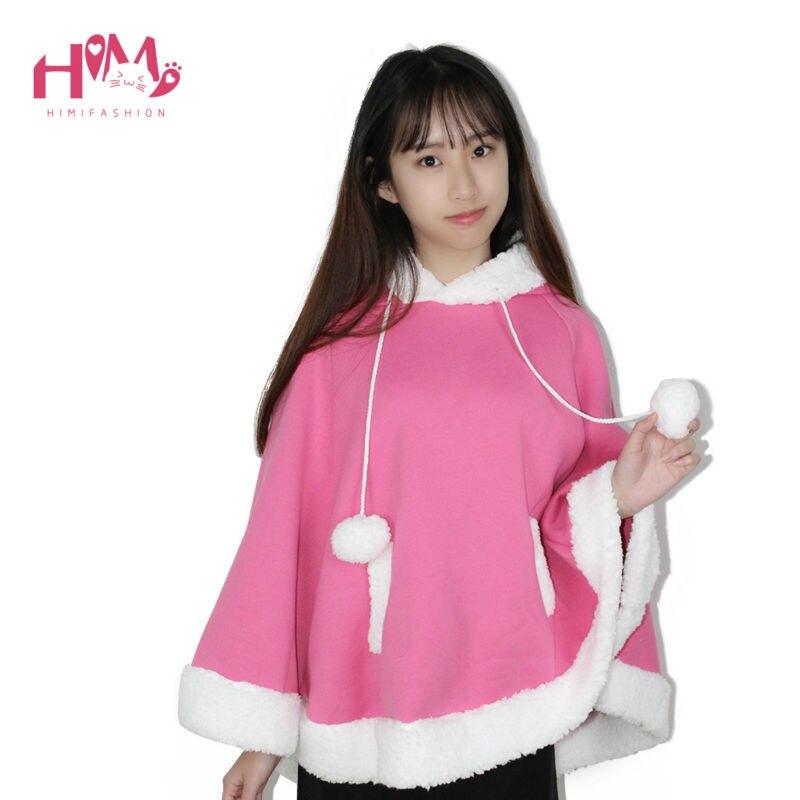 Christmas Hooded Cloak Winter cape Women Pink Unlined Upper Garment Sets Fleece Lovely Japanese Coat Blue