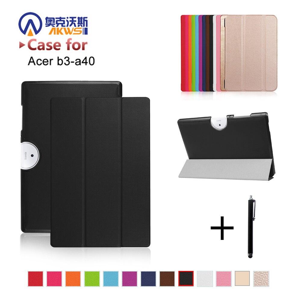 Luxe Ultra Mince Magnétique Folio Stand Flip Housse En Cuir Pour Acer Iconia Un 10 B3-A40 B3 A40 10.1 Tablet + cadeau gratuit