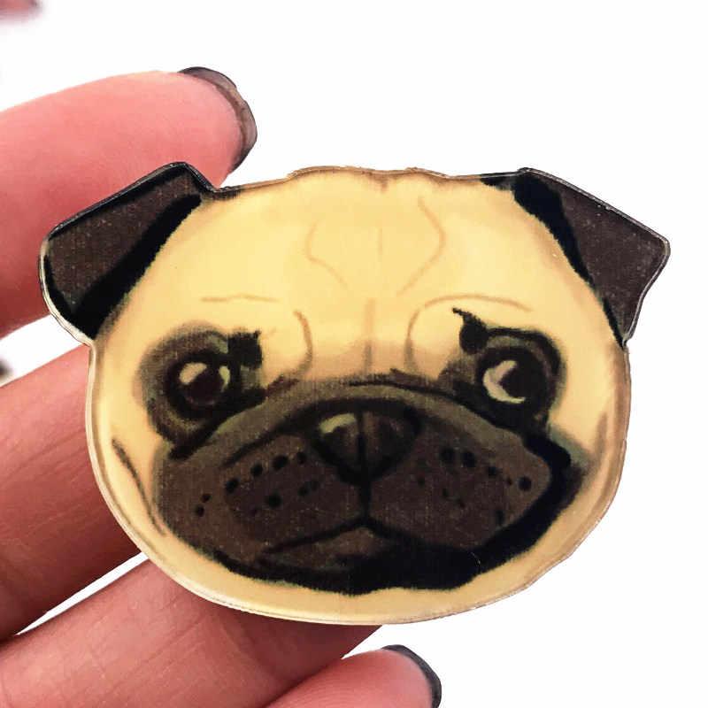 1 Pcs Bulldog Kepala Acrylic Bros Hewan Lucu Ikon Pin Lencana untuk Anak Laki-laki Hadiah Dekorasi Di T-shirt Syal Mantel Pakaian