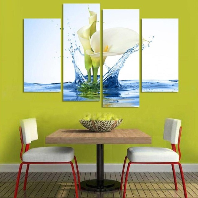 Modern Lily Flower In Water Canvas Painting 4 Pieces Flower Wall Art ...