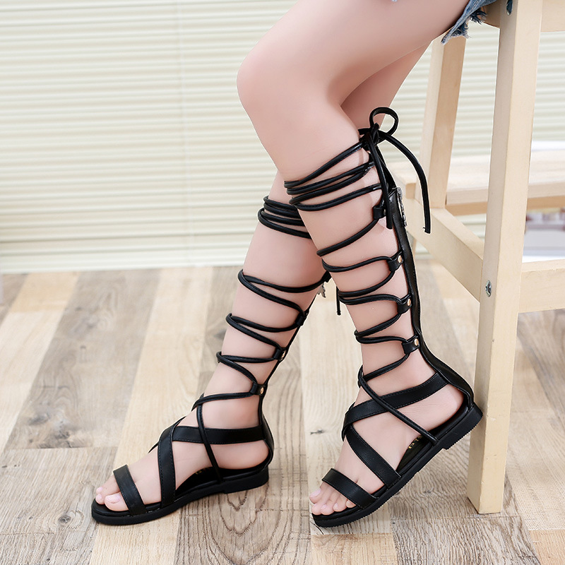 f2770ad0cc6 2016 Girls Summer Shoes Knee High Gladiator Sandals Kids Cross strap Sandals  White and Black Children Lace up Boot-in Sandals from Mother   Kids on ...