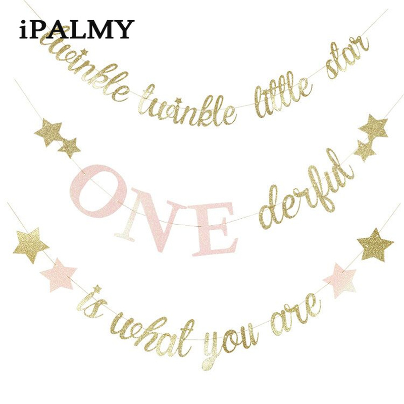 ipalmay Twinkle Little Star Banner Kids Birthday Party Baby Shower Garland Props Girl Princess One 1st Birthday Party Decoration title=