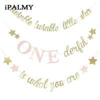 ipalmay Twinkle Little Star Banner Kids Birthday Party Baby Shower Garland Props Girl Princess One 1st Birthday Party Decoration