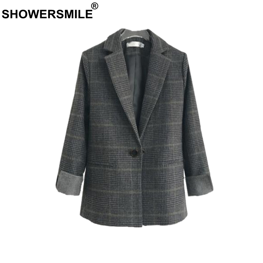 SHOWERSMILE Women Blazers And Jackets Wool British Plaid Suits Slim Single Button Houndstooth Brand 2019 Spring
