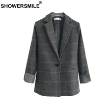 SHOWERSMILE Women Blazers And Jackets Wool British Plaid Suits Slim Single Button Houndstooth Brand 2019 Spring Ladies