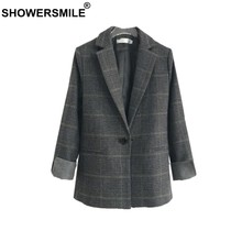SHOWERSMILE Women Blazers And Jackets Wool British Plaid Suits Slim Single Button Houndstooth Brand 2019 Spring Ladies Blazers(China)