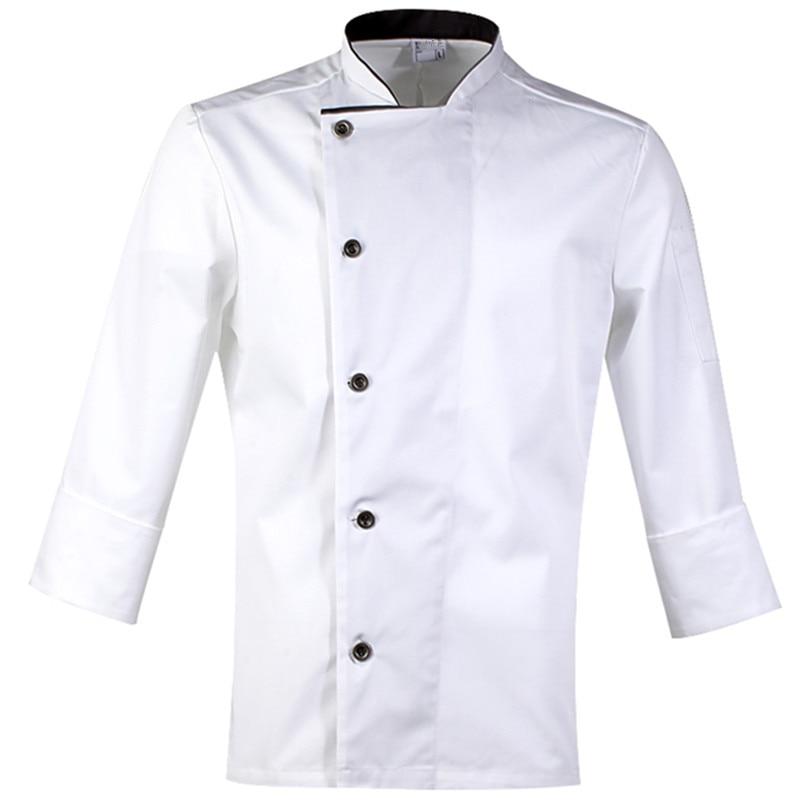 Black White Long Sleeve Chef Shirt D74-6