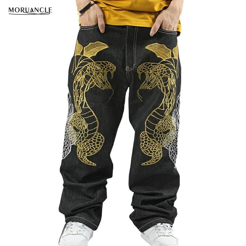 ФОТО MORUANCLE Men's Black Baggy Jeans Hip Hop Designer Brand Skateboard Pants loose Style Plus Size 30-46 True HipHop Rap Jeans Boy