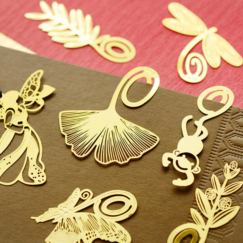 Free shipping 10pcs/lot Mini Cartoon Creative Bookmark Novelty Stationery Gold Color Metal Bookmarks Book Lover Gift