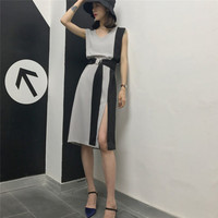 Elegant Sleeveless Grey Black Patchwork Dresses Side Hem Slit Split Loose Long Women Dress V Neck