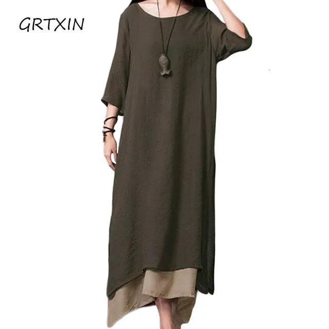 Women Linen Vintage Dress Split Irregular Hem Casual Loose Boho Long Maxi Dresses Plus Size Large Sizes Dresses