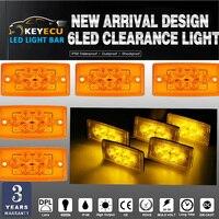 KEYECU 5 יחידות של מלבן אמבר 6 LED גג מונית אור סמן אישור לfreightliner משאיות, טריילרים, טרקטורים,