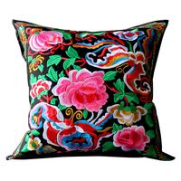RUBIHOME Chinese Style National Wind Flower Embroidered Decorative Cushion Cover Throw Pillowcase Linen Home Decor Sofa