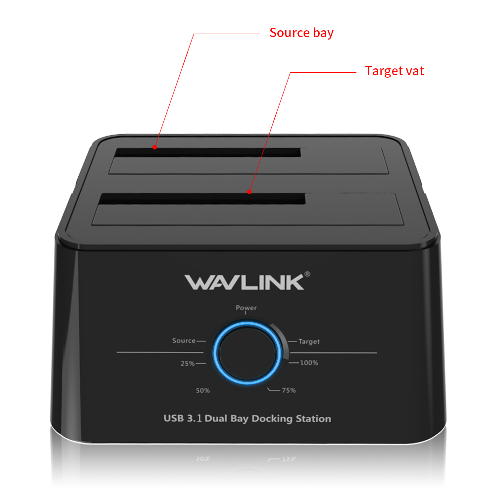 Wavlink USB C 3.1 à SATA double baie disque dur externe Station d'accueil pour 2.5/3.5