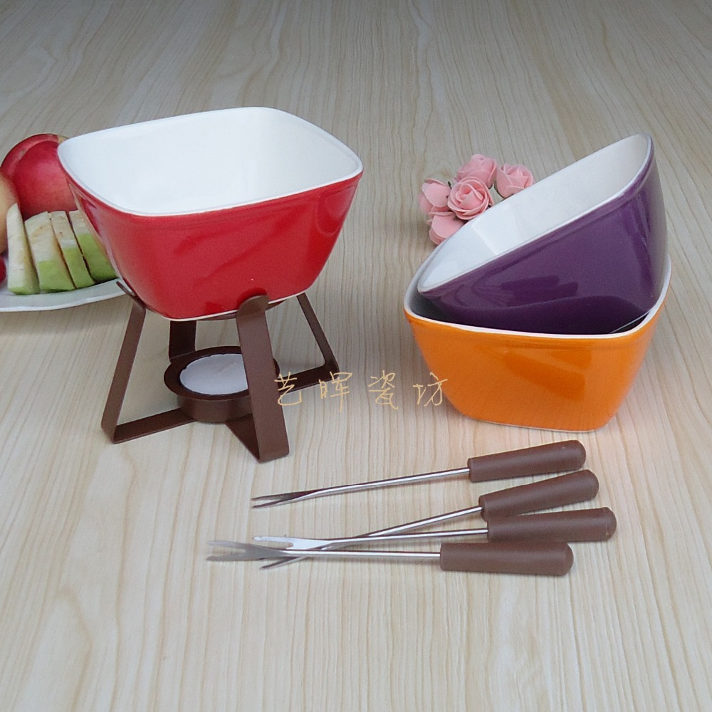 300 Ml Colorful Ceramic Fondue Set Cheese Warmer Chocolate Pot Square Fondue Pot For Icecream Fruit Bread