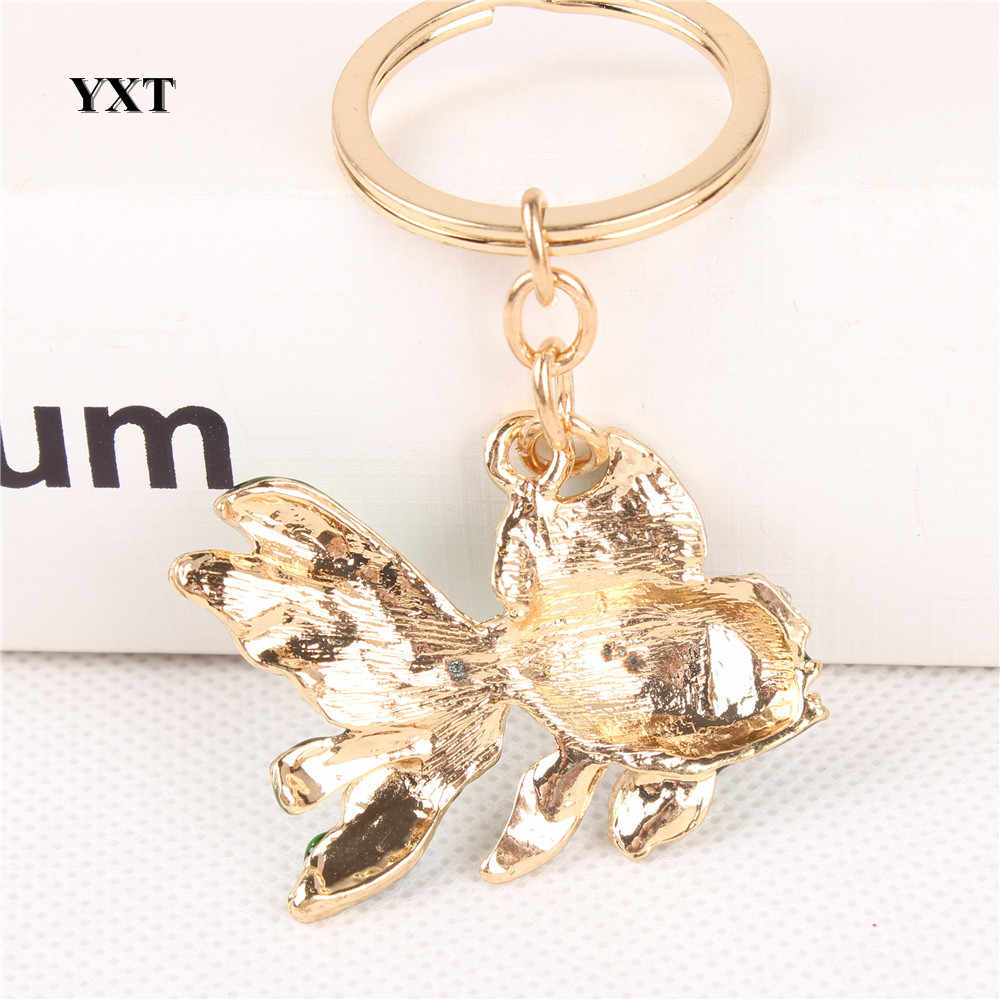 Precioso pez dorado lindo amuleto de diamantes de cristal colgante para cartera llavero para coche llavero para fiesta regalo favorito de alta calidad