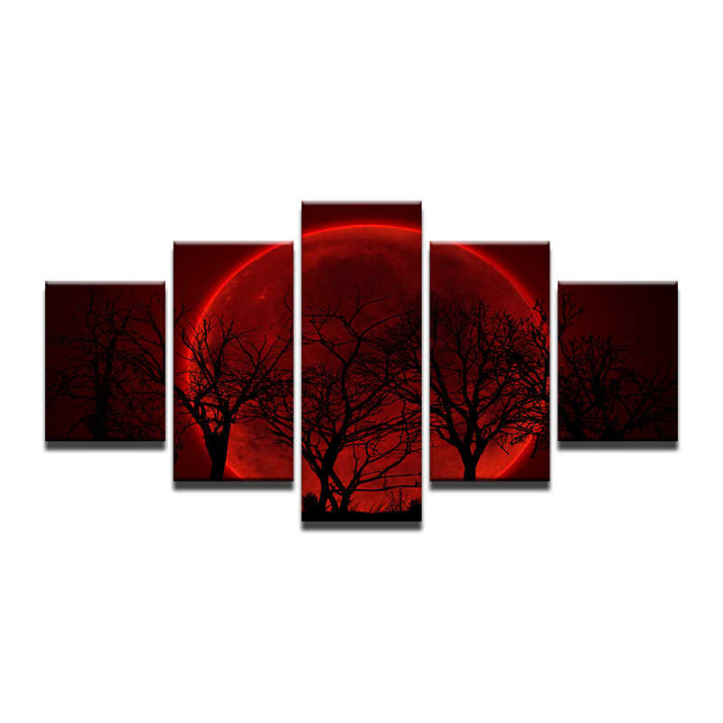 5 Panels HD Red Moon Night Forest Tree Canvas Prints Painting Wall Art 5 Pieces Picture Panels Poster For Living Room