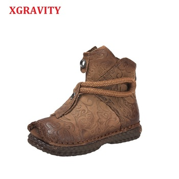XGRAVITY New Genuine Leather Ankle Boots Elegant Comfortable Women Fashion Round Toe Soft Sole Short Boots Ladies Shoes Hot C289