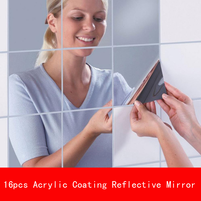 16 Pcs 15 15CM thickness 1mm Acrylic coating Chrome unbreak Reflective Mirror Like Decorative for Wall Shower Room bathroom in Brackets from Home Improvement