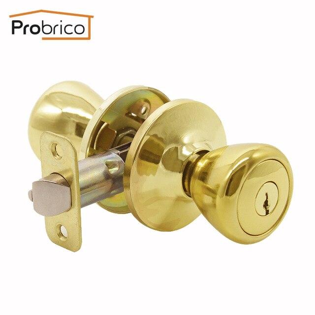 Probrico Door Lock With Key Stainless Steel Safe Lock Security Gold Door  Handles Door Knob Entrance