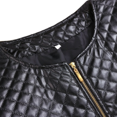 Press Cotton Leather Jackets Women Long Sleeve Autumn Winter Coat 2018 Black White Patchwork Slim Short Jackets with Zippers X3 Islamabad