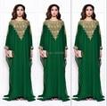 Esmeralda Verde de Manga Longa Vestidos de Noite 2016 Com Ouro Beading Uma Linha Sexy Mulheres Prom Vestidos Marroquino Kaftan Abaya Muçulmano