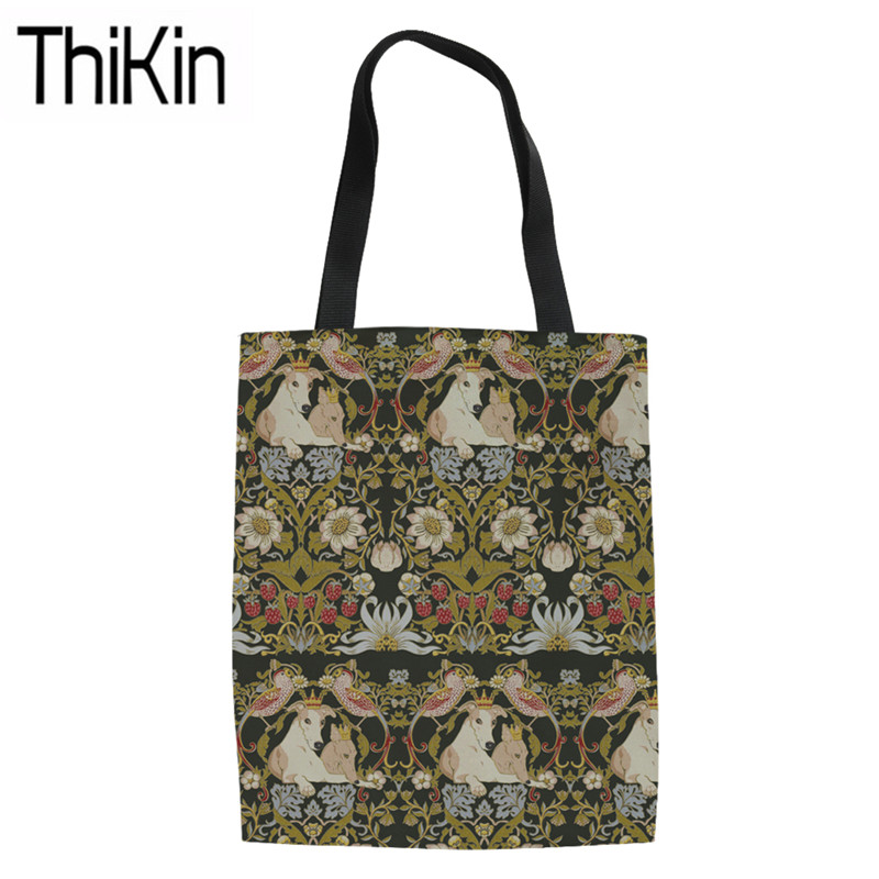 THIKIN Large Capacity Shoulder Bags For Women Whippet Printing Canvas Tote Bag Ladies Foldable Shopping Bags For Females Bolsa