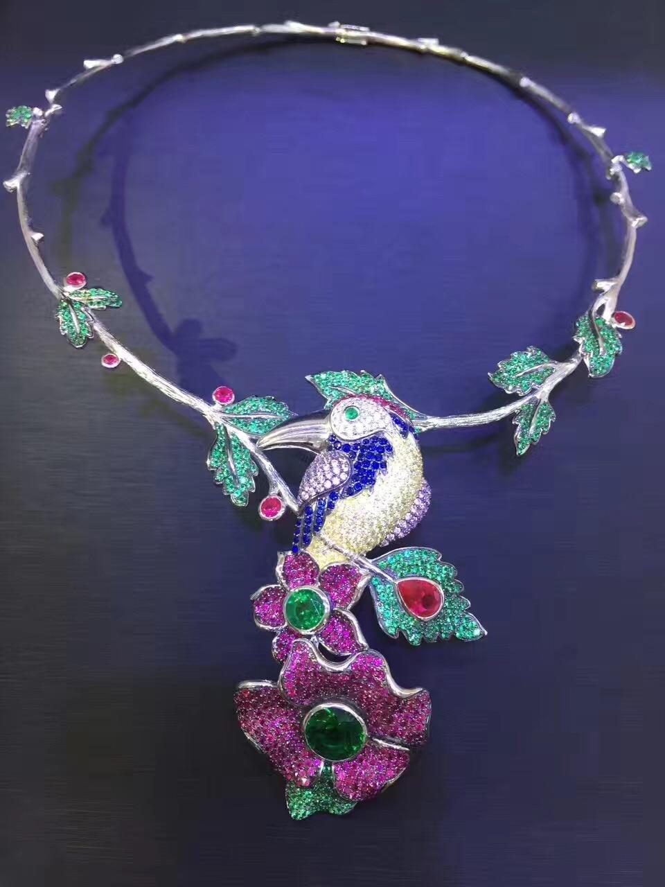 925 стерлингового серебра с фианит птица и цветок моменты ожерелье Модные женские Этнические украшения Бесплатная доставка