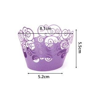 Image 5 - 12ชิ้น/ล็อตLaceตัดเลเซอร์คัพเค้กWrapper Linerเบเกอรี่ถ้วยHollowกระดาษเค้กDIYเบเกอรี่Fondant Cupcake