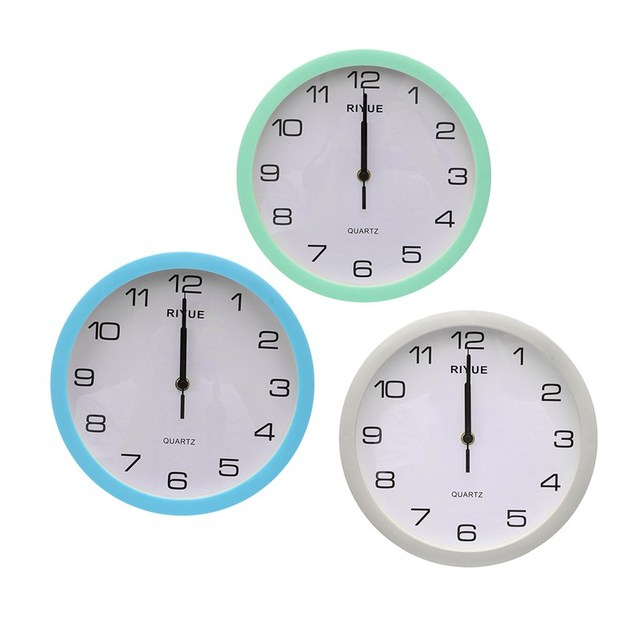 Charminer Retro Vintage Round Silent Sweep Movement Quartz Wall Clock Home  Bedroom Decor Blue Silver Green