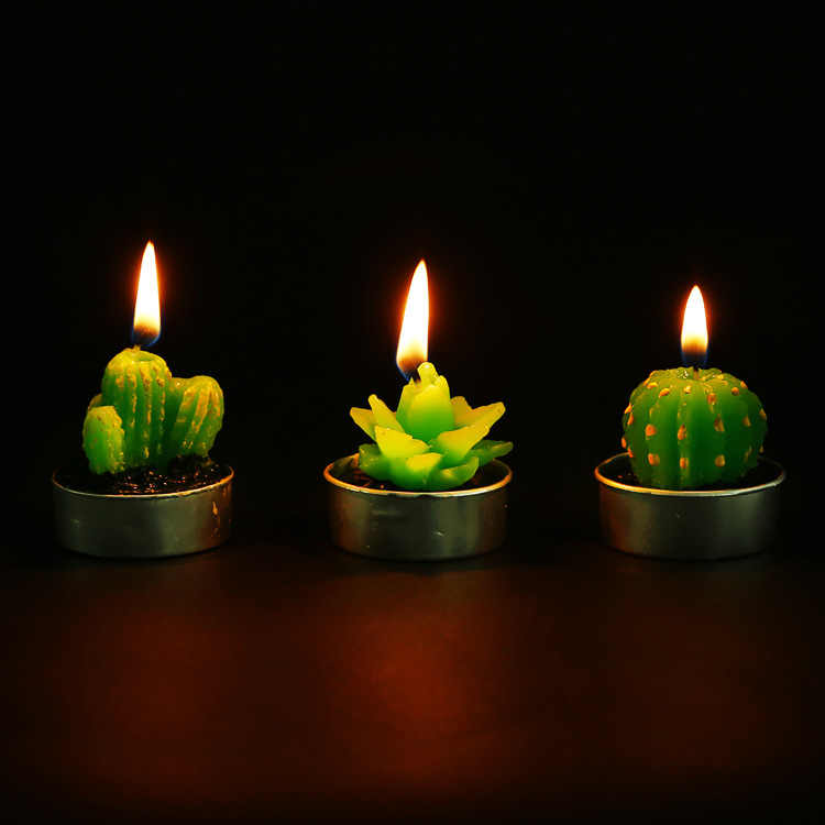 6pcs Non-spill Cactus Candle Decorative Tea Light Candles for Xmas Party Hallowmas Wedding Decoration Birthday Flameless Candles