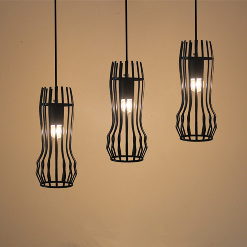 Vintage retro pendant lights LED lamp  metal cube cage lampshade lighting hanging light fixture with LED G80 bulb led lamp creative lights fabric lampshade painting chandelier iron vintage chandeliers american style indoor lighting fixture